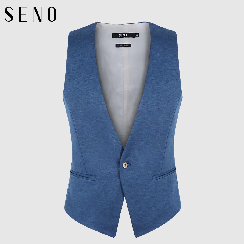 Seno men's suit vest vest slim sky blue color a buckle v-neck vest male vest soft and smooth