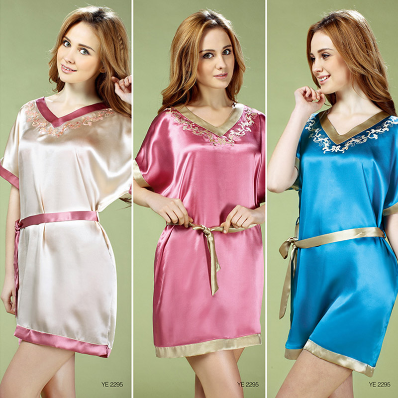 a1adcb2710 Get Quotations · Seoul arts 100% silk women s belts new pyjamas embroidered  short sleeve silk pajamas nightgown 2295