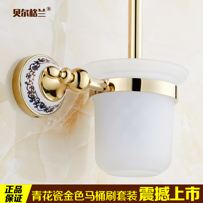 Set ceramic toilet brush holder cup holder bathroom hardware bathroom accessories golden continental non aluminum space frame toilet brush