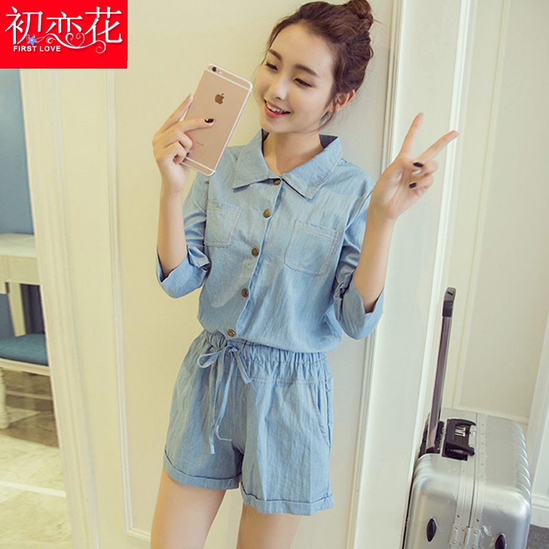 d796613ebae1 Get Quotations · Seven points sleeve denim jumpsuit adolescent girls junior  high school students loose pants summer fashion piece