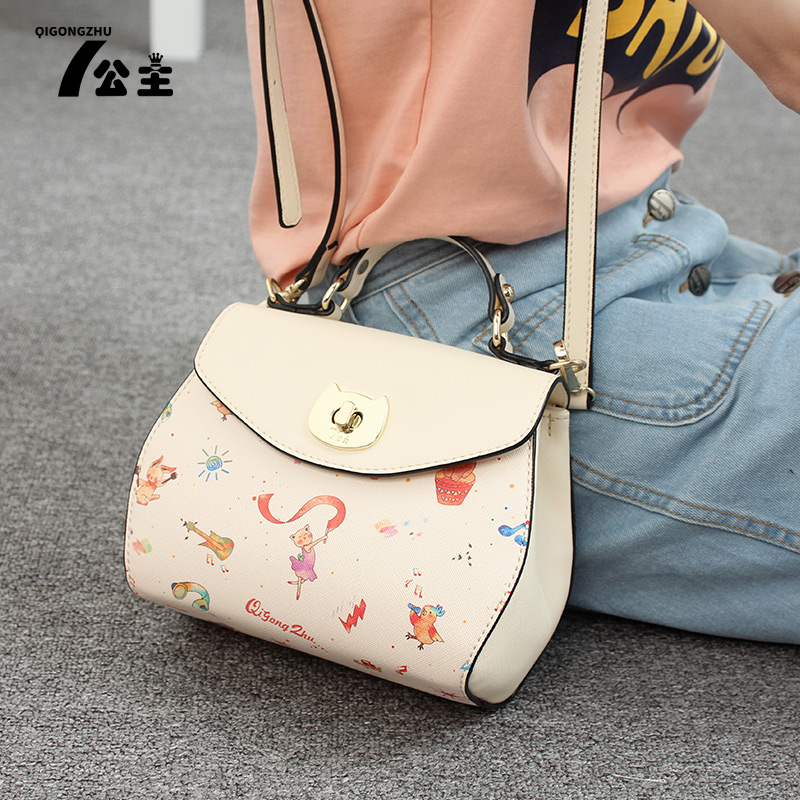 Seven princess handbag cute cartoon printed handbag shoulder bag 2016 summer new models messenger bag woman packet