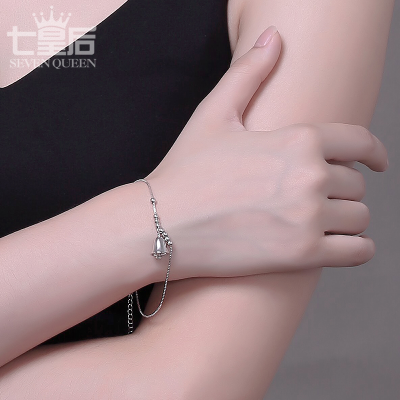 Seven queens s925 silver bell bracelet female girlfriends korean version of the simple fashion jewelry bracelet birthday gift