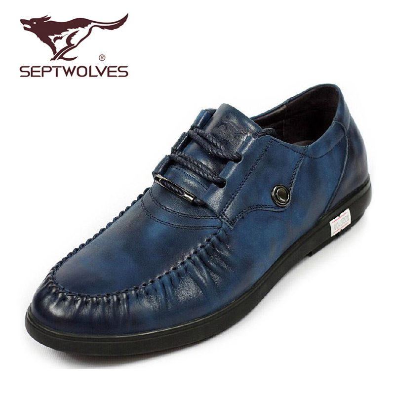Seven wolves [counter genuine] new autumn and winter the first layer of leather casual men's shoes 331651433 flat with breathable shoes