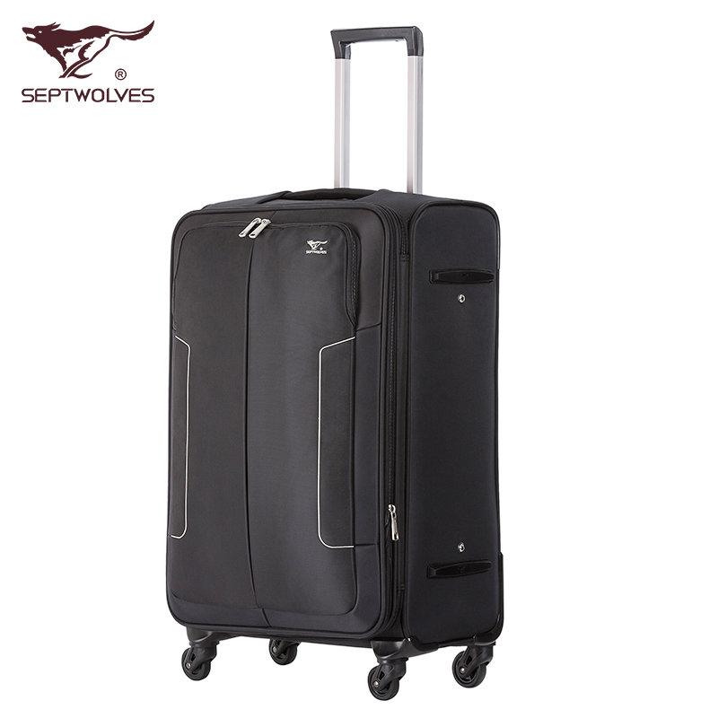 Seven wolves genuine oxford cloth suitcase trolley case suitcase caster 20 20-inch board chassis suitcase 24 inch large capacity luggage trolley