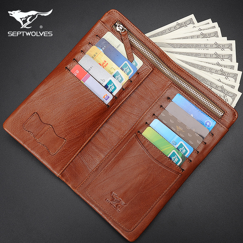 Seven wolves wallet men long section of zipper leather clutch first layer of leather clutch wallet large capacity genuine
