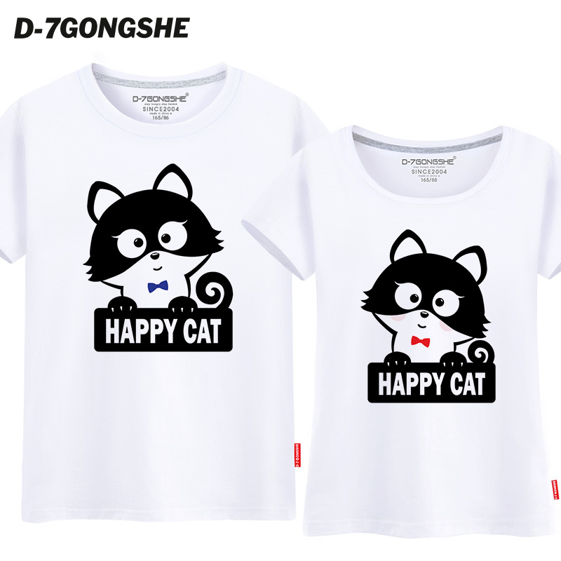 Seventh commune lovers summer paragraph 2016 korean version of the happy cat short sleeve half sleeve t-shirt female loose casual