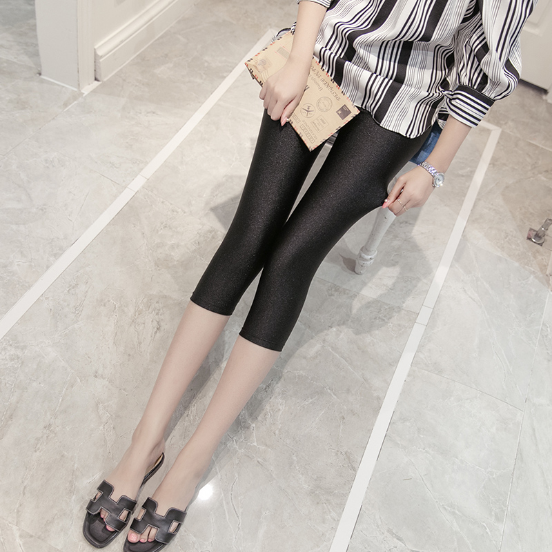Seventh summer leggings pants thin section glossy glossy female outer wear black leggings stretch pants feet library yards