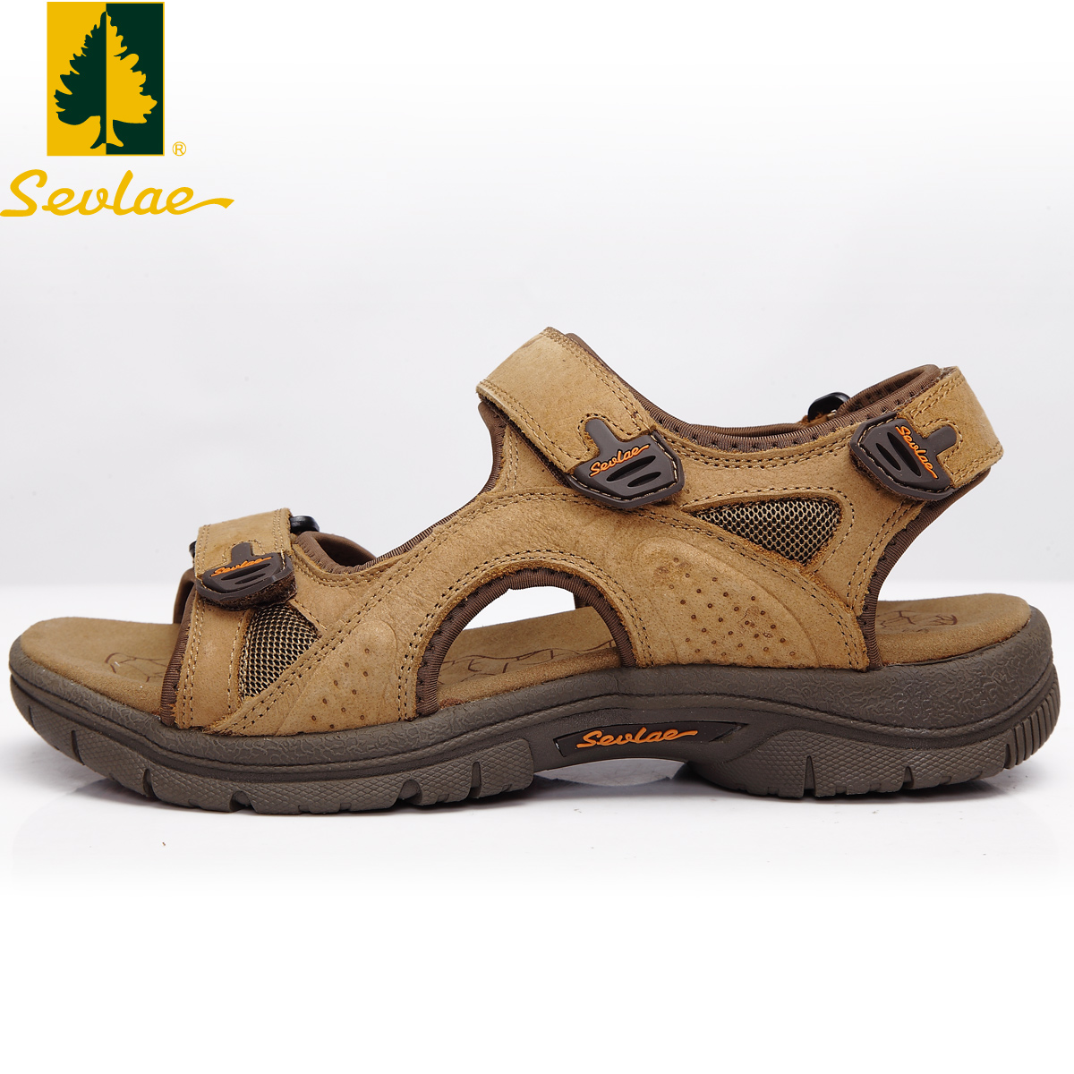 38606051f598 Get Quotations · Sevlae shengfu lai outdoor men s first layer of leather sandals  velcro sandals beach sandals 9321915009