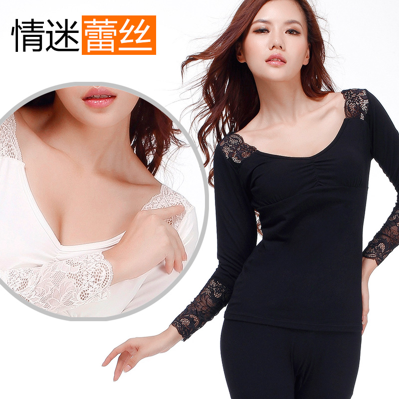 [] Sexy lace unlined v-neck bottoming qiuyiqiuku modal thin section was thin female thermal underwear shirt