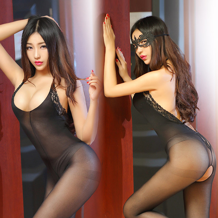 Sexy lingerie passion suit stockings contains adult sexy hollow lace open crotch jumpsuit uniforms woman show