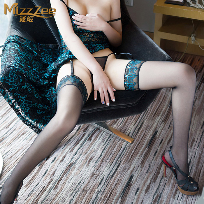Sexy lingerie sexy transparent silicone slip socks stockings contains adult female black silk socks socks 7047 peacock feathers