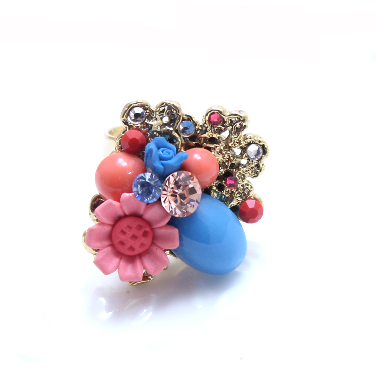 Sge handmade polymer clay jewelry earrings new european and american palace retro daisy flowers sanskrit poetry ting female ring opening