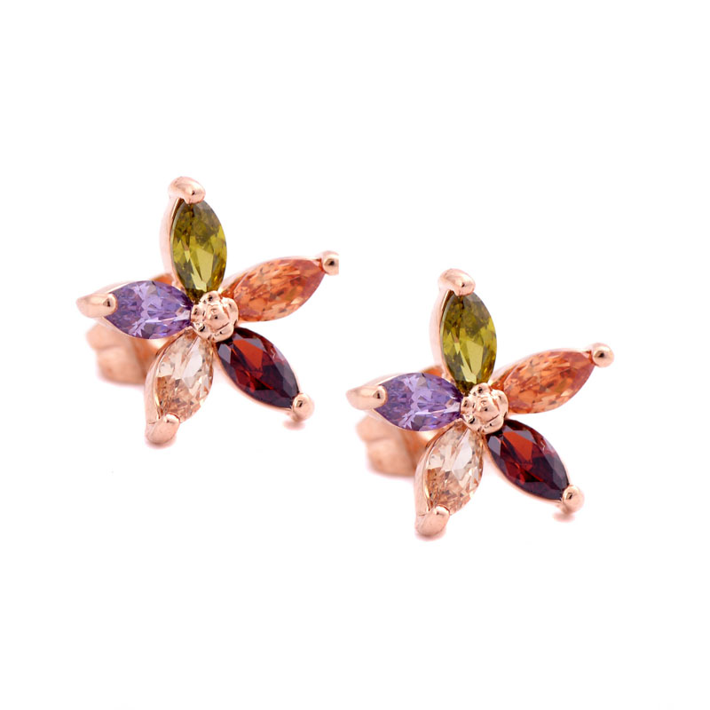 Sge new korean jewelry delicate five small colored flowers rhinestone super flash zircon ol wild temperament ear nail