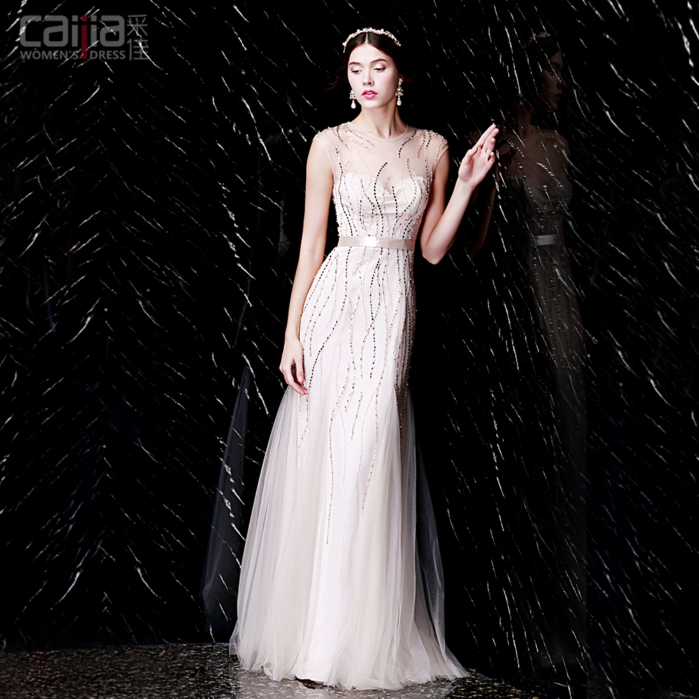 Get Quotations · Shallow champagne beaded fishtail evening dress new fashion  sequined wedding dress long dress skirt evening banquet 0c30425c97bc