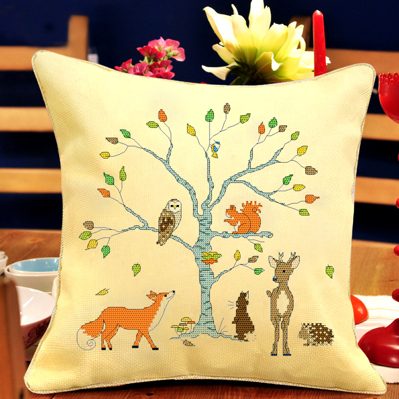 Shang century stitch dmc cross stitch new living room beautiful pillow cartoon series pillow cushion office off the tree of animals