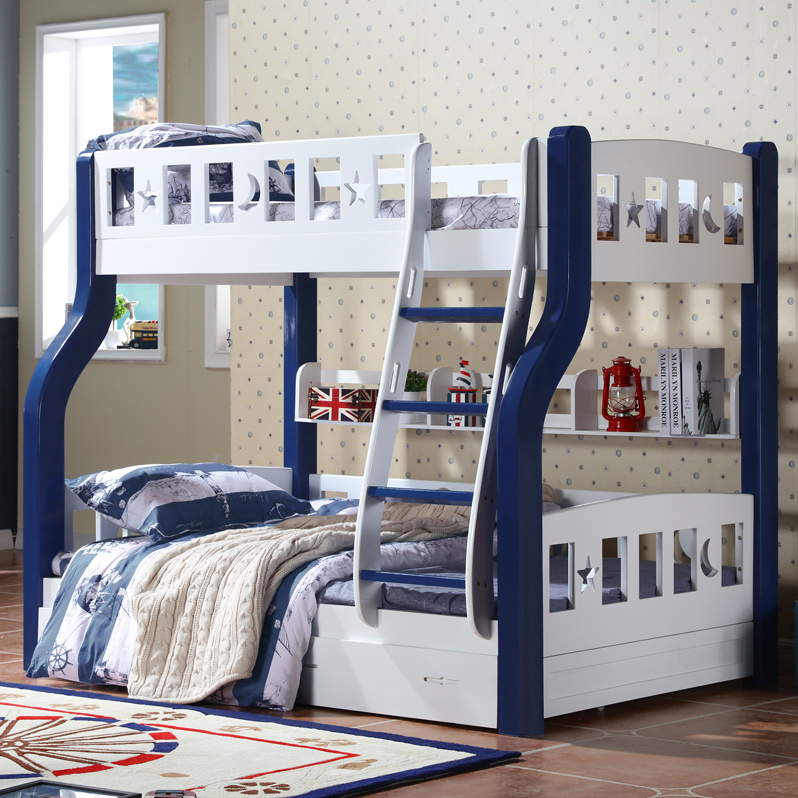 Shang tao mediterranean wood bed bunk bed bunk bed bunk bed adult children's beds full of pine