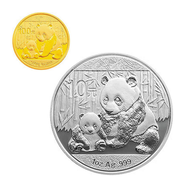 Shanghai jicang chinese gold 2012 panda 1/4 ounces of gold plus 1 oz silver coin