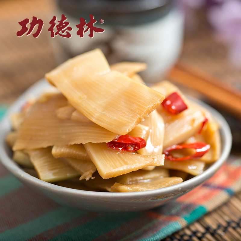 Shanghai specialty gongdelin old braised bamboo shoots 200g bamboo shoots open bags of instant snacks