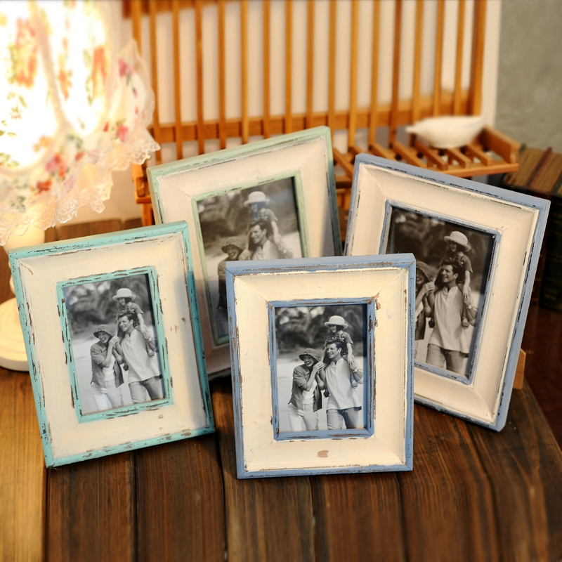 Sharui retro blue green 6 inch american mediterranean decorative wood frame frame wooden swing sets creative