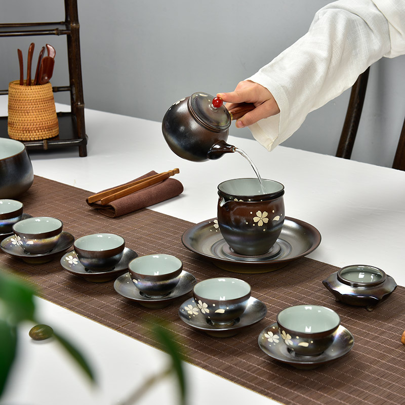Shaw word and germany archaized guanware imitation firewood kung fu tea sets opening piece tea hand painted depiction silver tea Kit