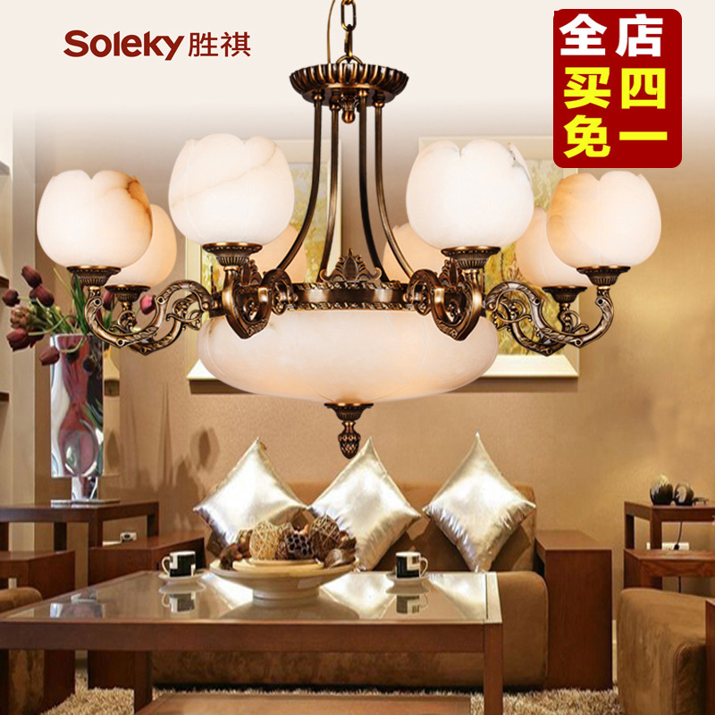 Sheng kee european chandeliers living room lights marble lamps full copper chandelier bedroom den european luxury villa atmosphere