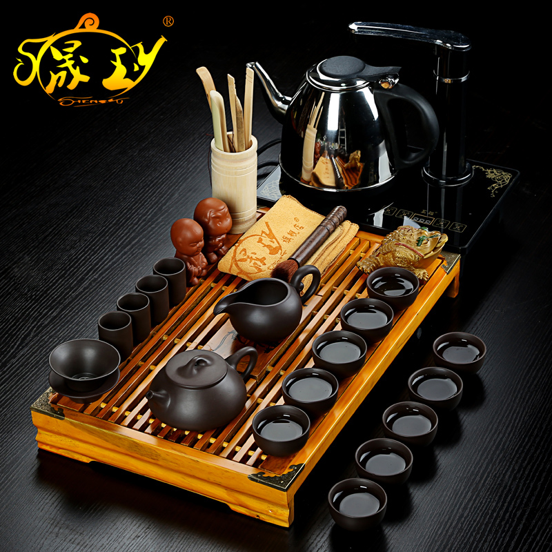 Sheng yu yixing purple clay ore genuine kung fu tea tea set special package cooker wood tea tray