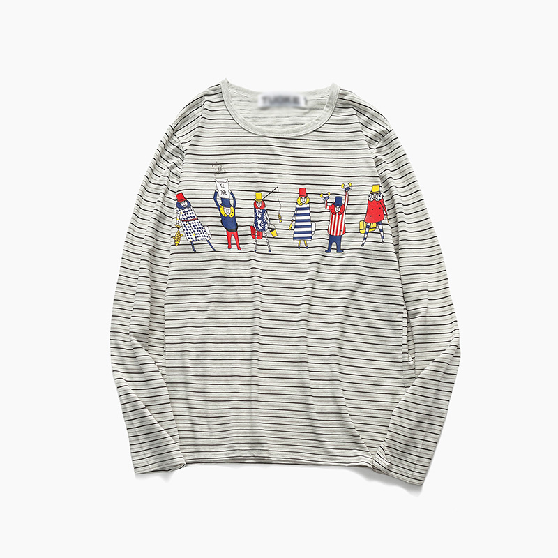 范库shi autumn men's long sleeve striped t-shirt cartoon printed round neck t-shirt korean version of the young casual tee shirts