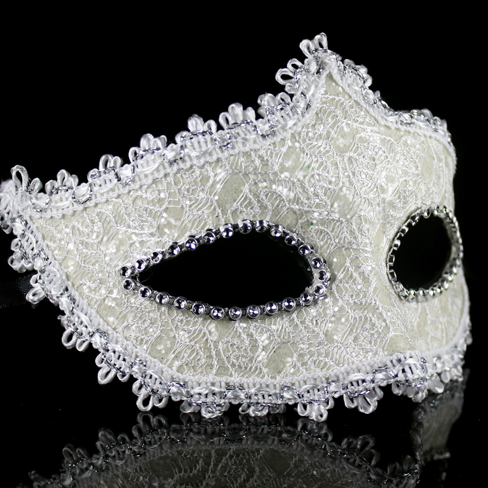 Shi cai woman half face mask halloween masquerade mask powder princess leather cosplay adult men and women