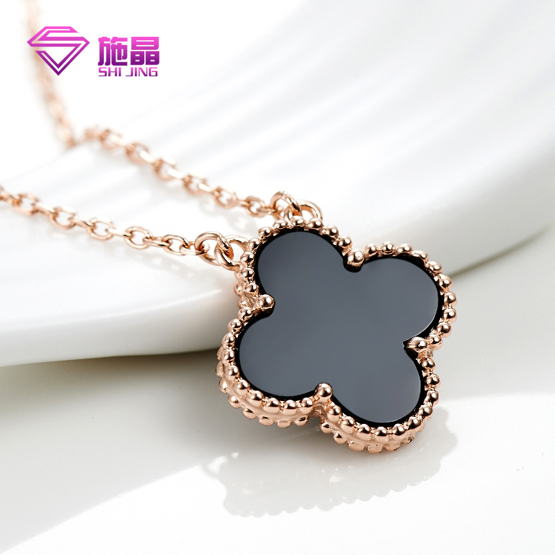 Shi jing clover necklace short female models 925 silver rose golden ossicular chain female minimalist japanese and korean fashion jewelry pendant