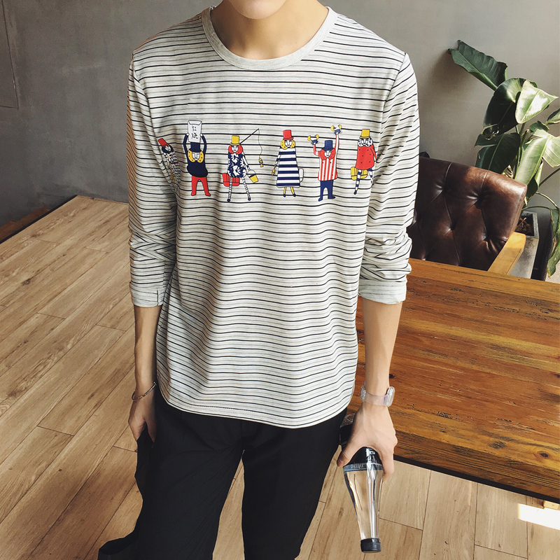 范库shi men fall striped long sleeve t-shirt cartoon printed t-shirt slim casual korean version of the influx of men tee shirts