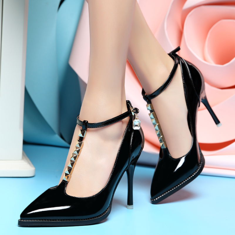 Shield fox 2016 spring new shoes women high heels waterproof taiwan fine with european and american fashion shoes rivets