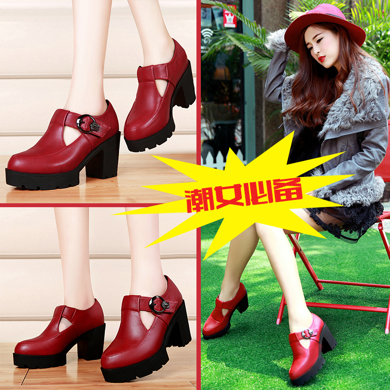 Shield fox new winter round waterproof high heels shoes thick with deep mouth singles shoes korean tidal shoes work shoes 2015