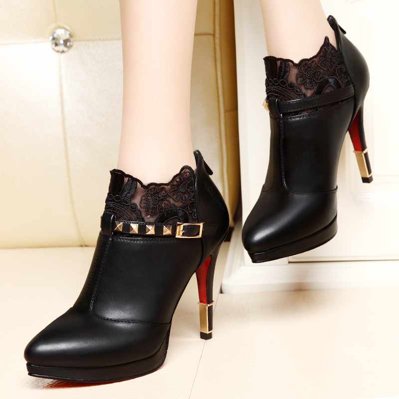 Shield fox sexy pointed high heels shoes 2016 new fall deep mouth shoes women fine with waterproof women shoes