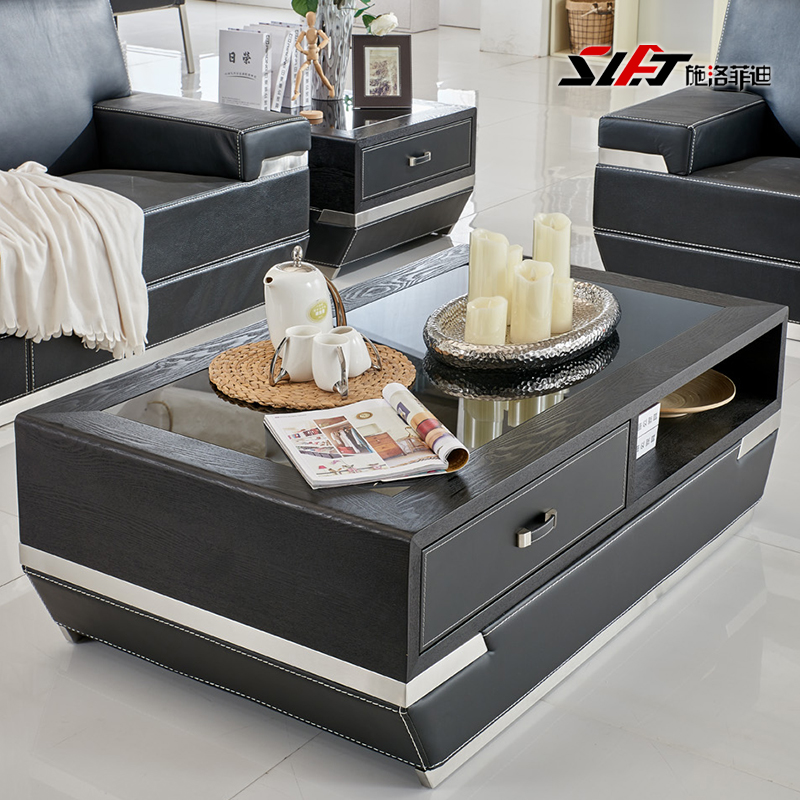Shiluofeidi fashion stickers leather coffee table office desk modern stainless steel rectangular office will be off the coffee table