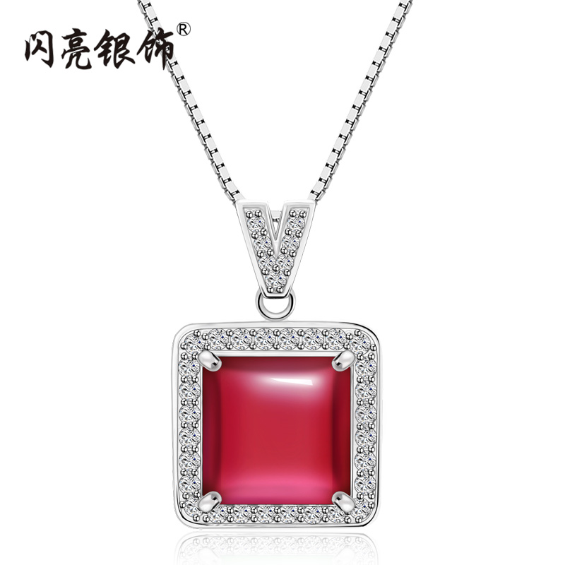 Shiny silver 925 silver necklace short clavicle chain necklace female korean sweet green chalcedony sterling silver square pendant with jewelry