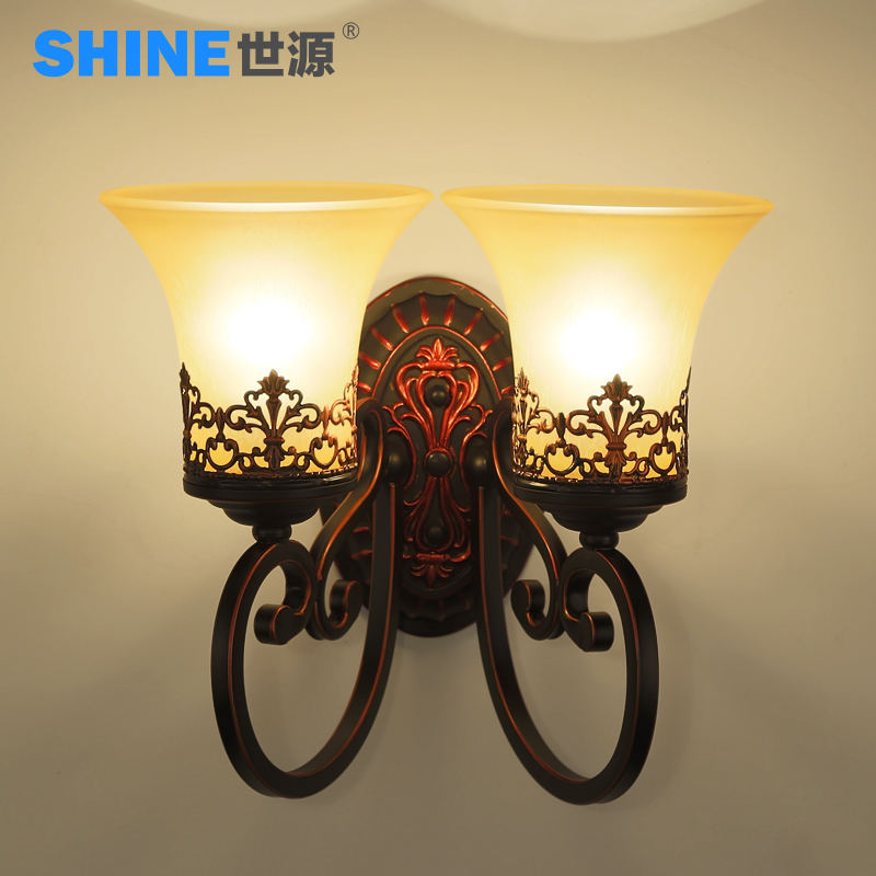 + Shiyuan european creative led bedside lamp american pastoral living room bedroom hallway wall lamp wall lamp staircase lighting fixtures 3060