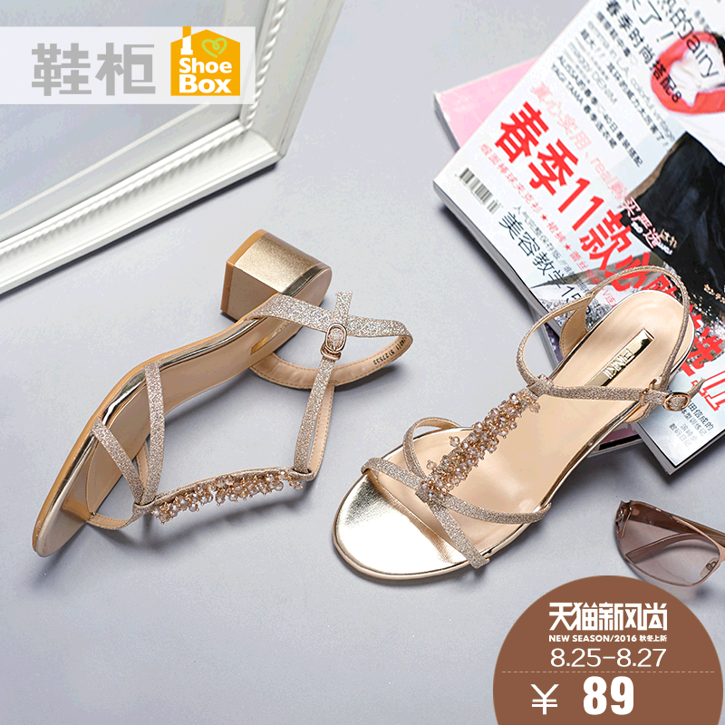Shoebox shoe 2016 new casual summer in rome with square heel sandals fashion rhinestone open toe shoes
