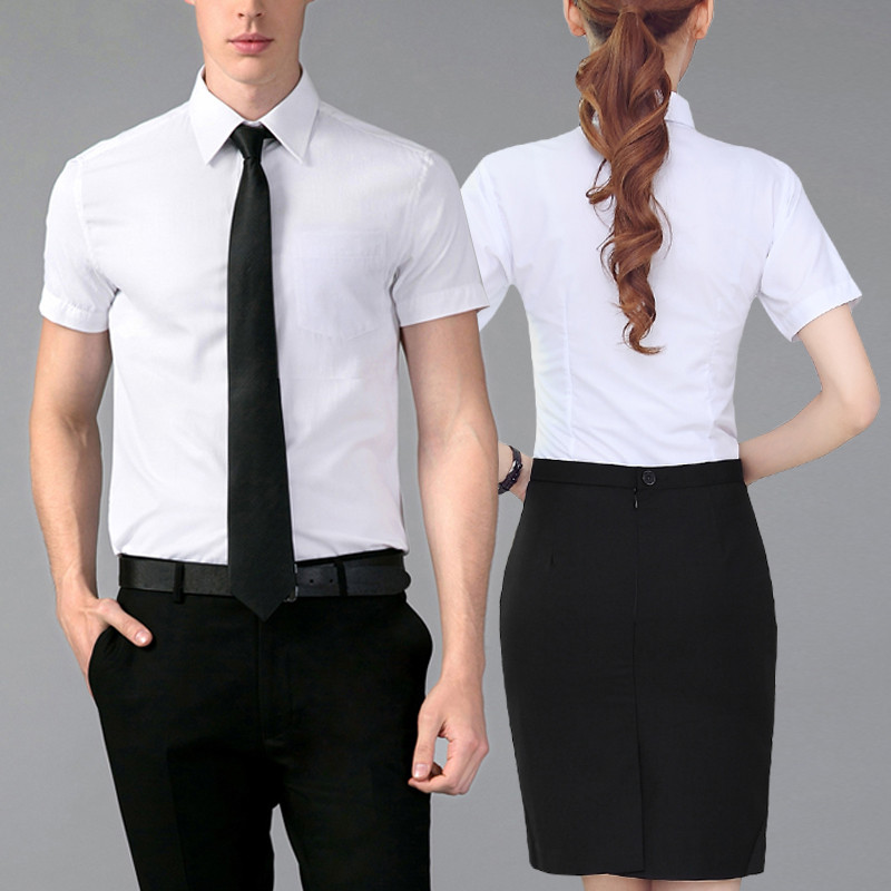 Short sleeve career skirt suit temperament ladies dress shirt overalls summer clothes men and women the same paragraph with the surface material