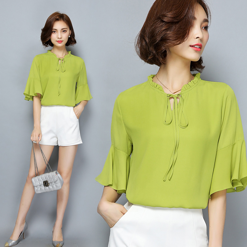 Short sleeve chiffon shirt female 2016 summer new korean version of loose horn sleeve ladies wild bow blouse shirt