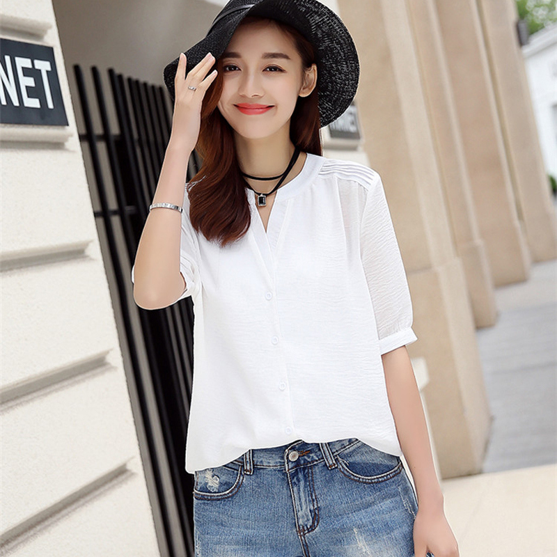 Short sleeve chiffon shirt summer ladies solid color chiffon shirt female 2016 summer short sleeve white chiffon shirt female short paragraph tide