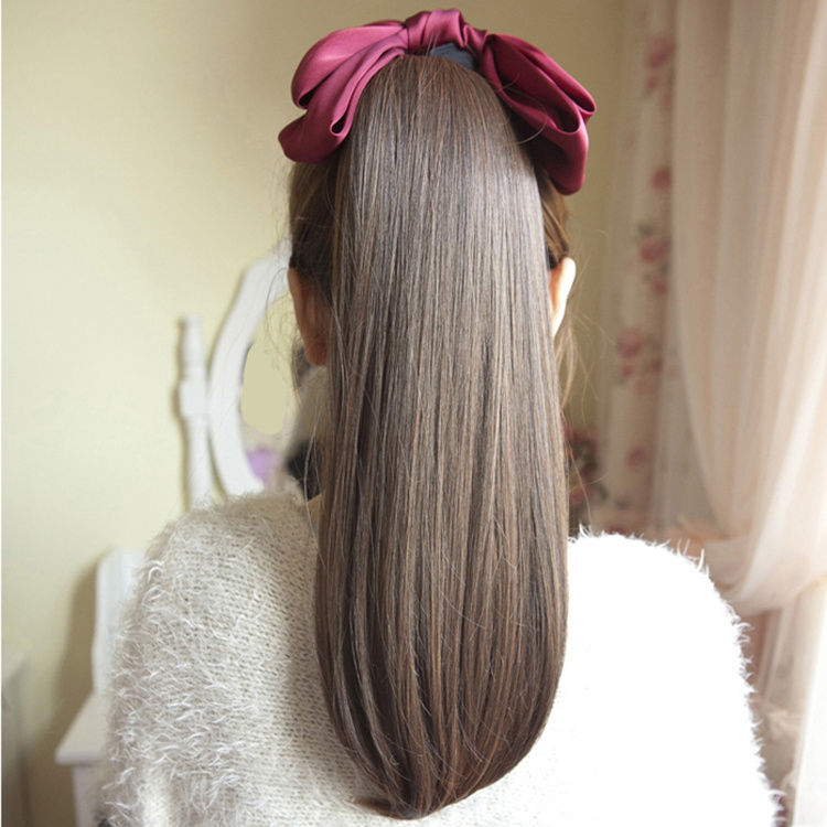 Show the wig hair tied ponytail tie style straight hair female scroll pear fake ponytail ponytail ponytail wig natural volume