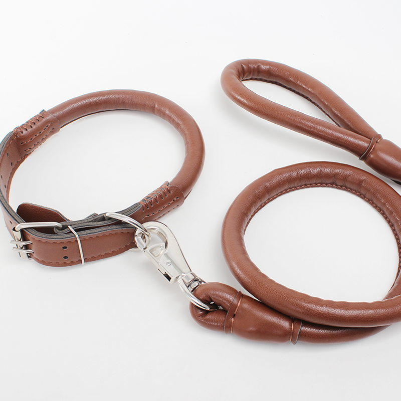 Shu paute pet traction rope in the large dog dog rope cowhide leather leash leather dog collar