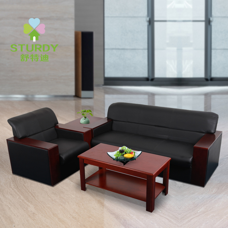 Shute di business reception parlor sofa office furniture modern minimalist coffee table group in three bits of leather promotions