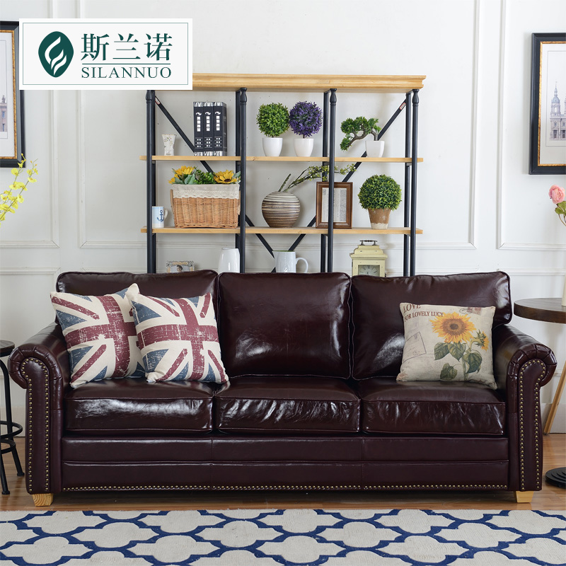 Get Quotations Si Lannuo American Leather Sofa Three Single And Double Small Apartment Portfolio Penger Retro Oil