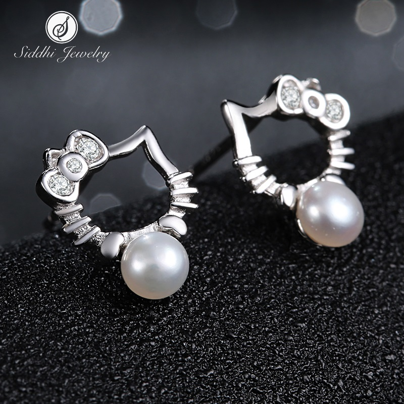 Siddhi/xi emperor s925 silver stud earrings female hypoallergenic earrings japan and south korea kt cat hello kitty run pearl earrings ear jewelry