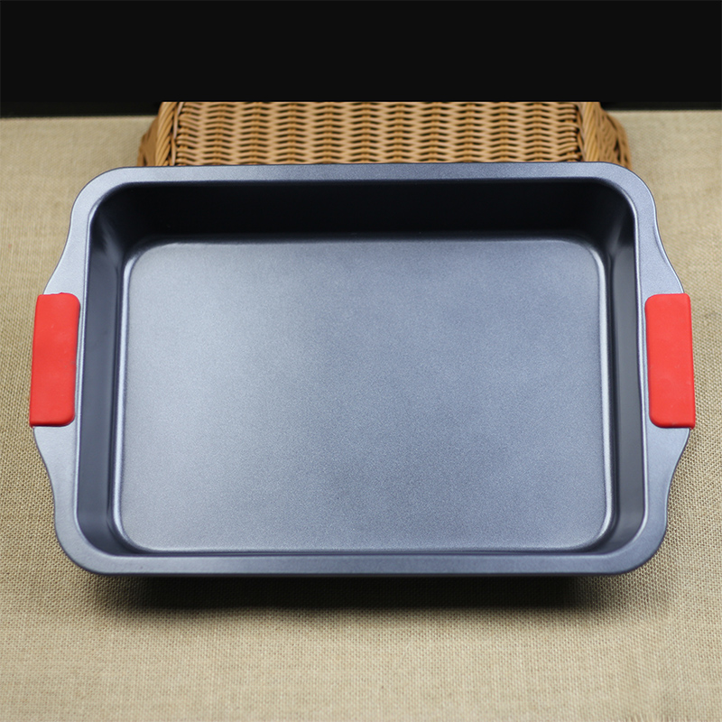Silicone baking oven with heavy steel handle square rectangular baking pan nonstick cake pan deepen thickened