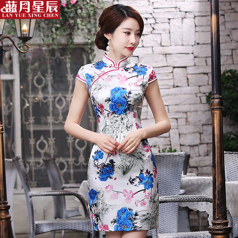 Silk cheongsam dress short paragraph slim retro cheongsam improved everyday fashion mulberry silk dress female summer 2016 new