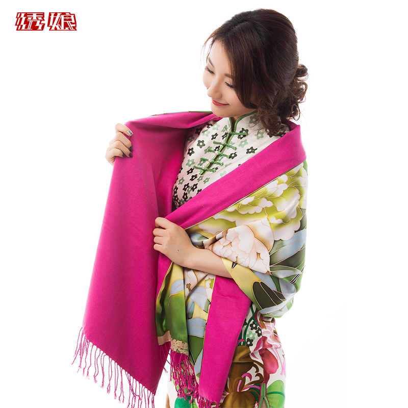 Silk embroidered mother valley language huaxi painted peony handmade beading silk shawl long section of the spring and autumn and winter fringed scarves