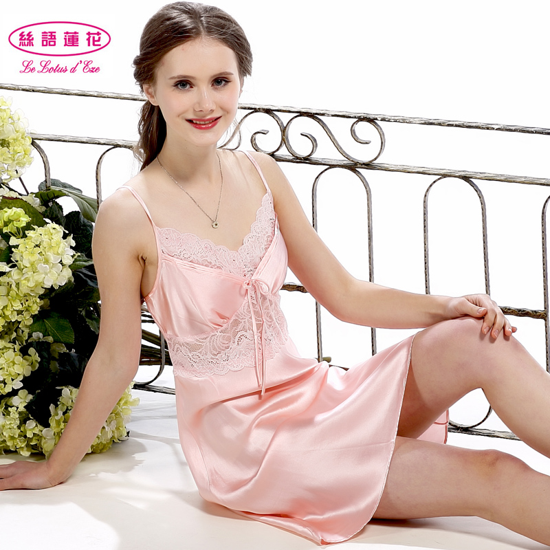 Get Quotations · Silk language lotus silk female summer home dress sexy silk  pajamas silk sling lingerie lace temptation cc189ebb7