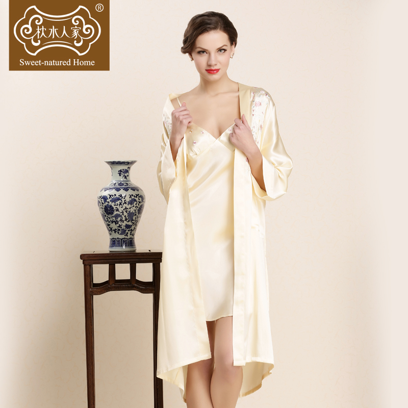 Silk pillow water people silk pajamas nightgown bathrobe piece tracksuit silk nightgown female silk 100% mulberry silk